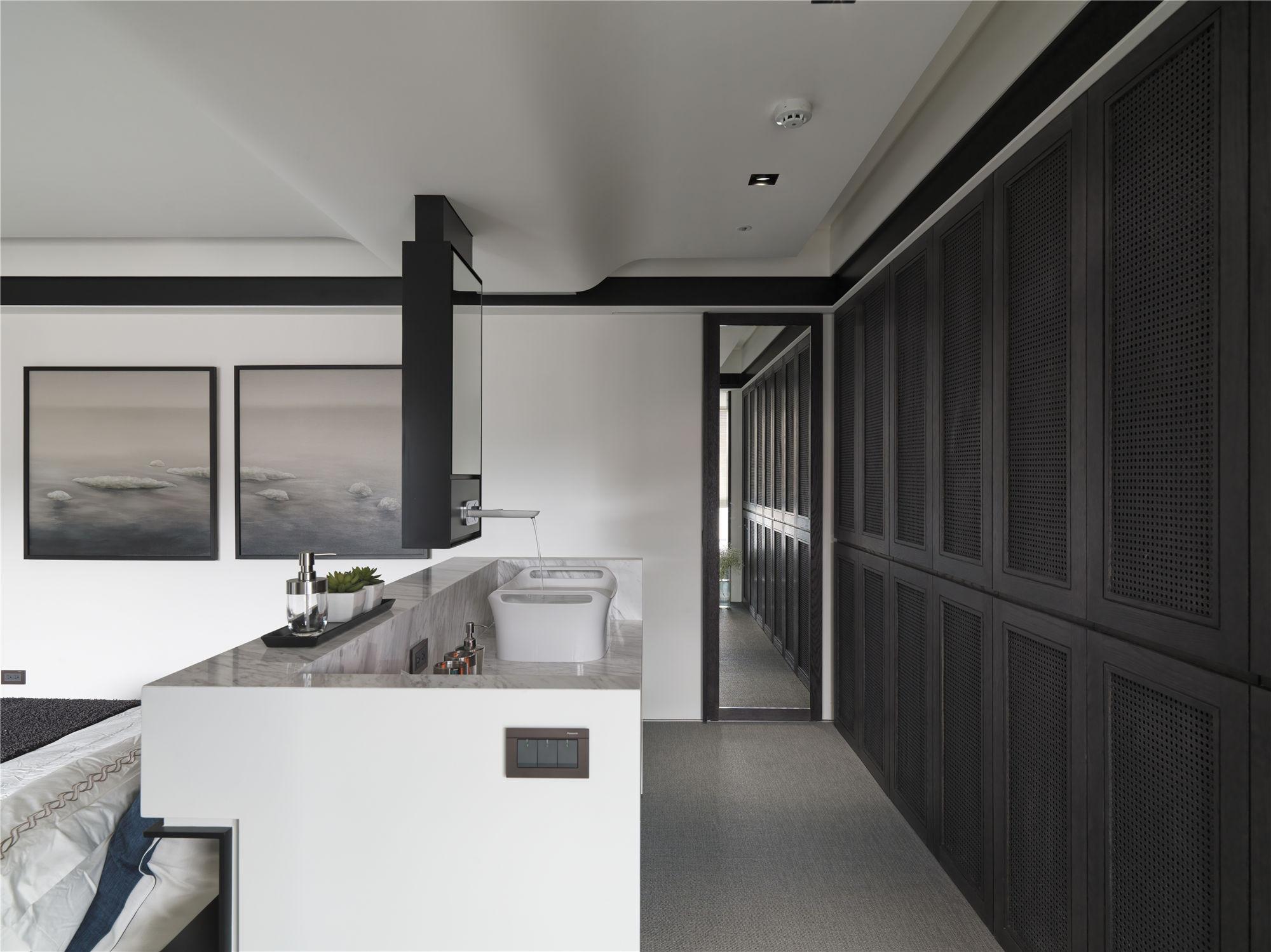黑白灰现代简约空间装修洗手台设计