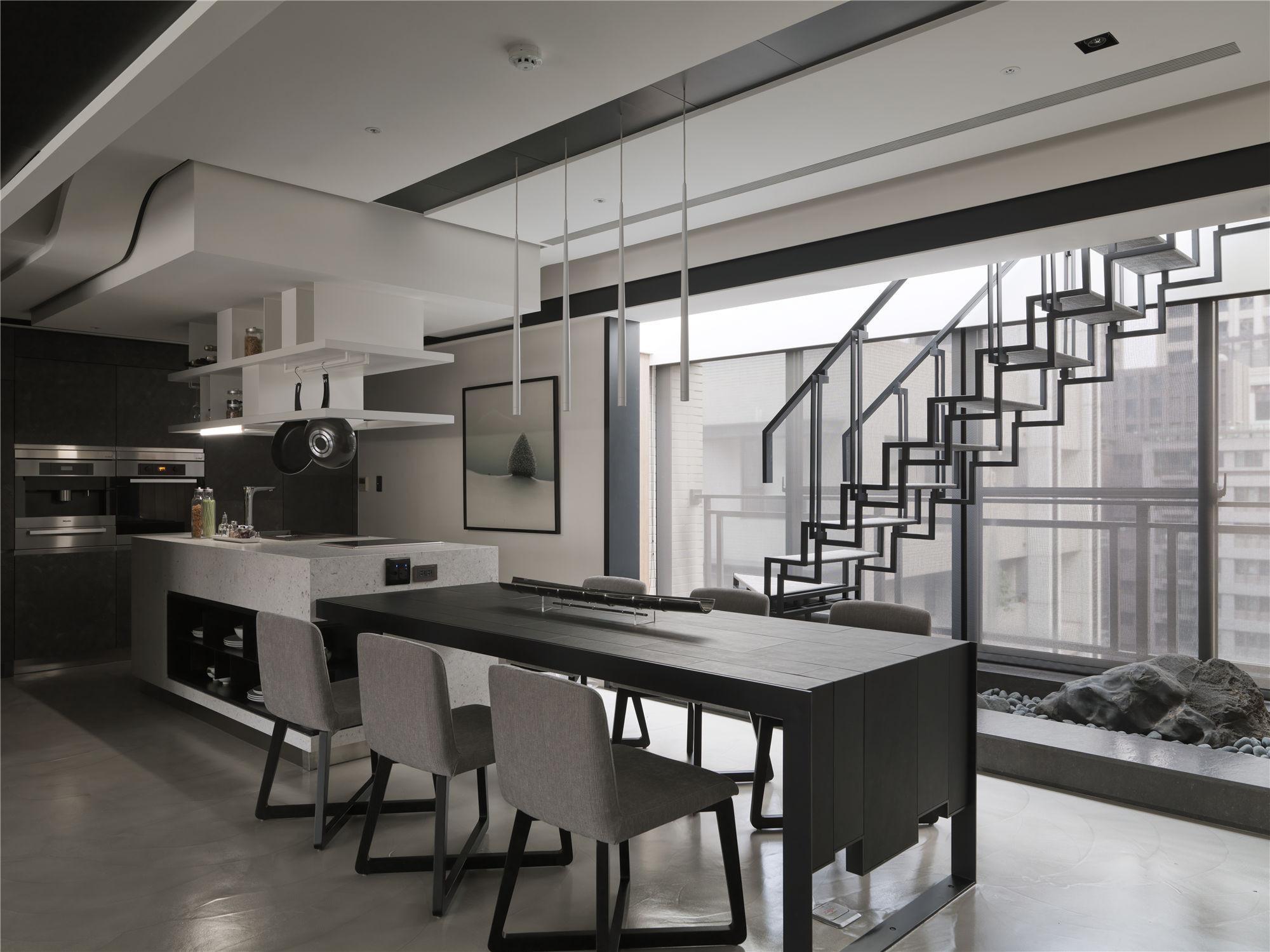 黑白灰现代简约空间装修餐厅设计图