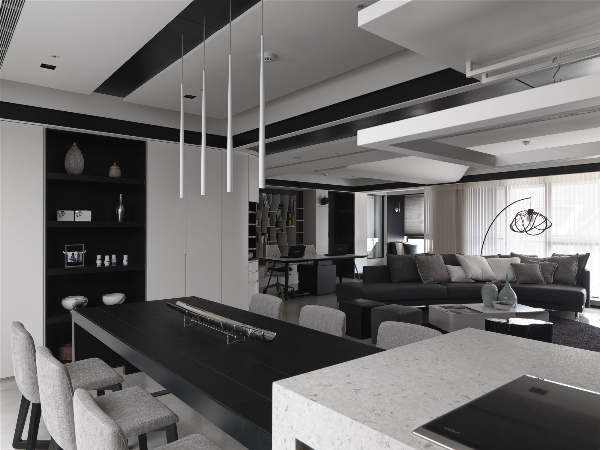 黑白灰现代简约空间装修吊灯设计