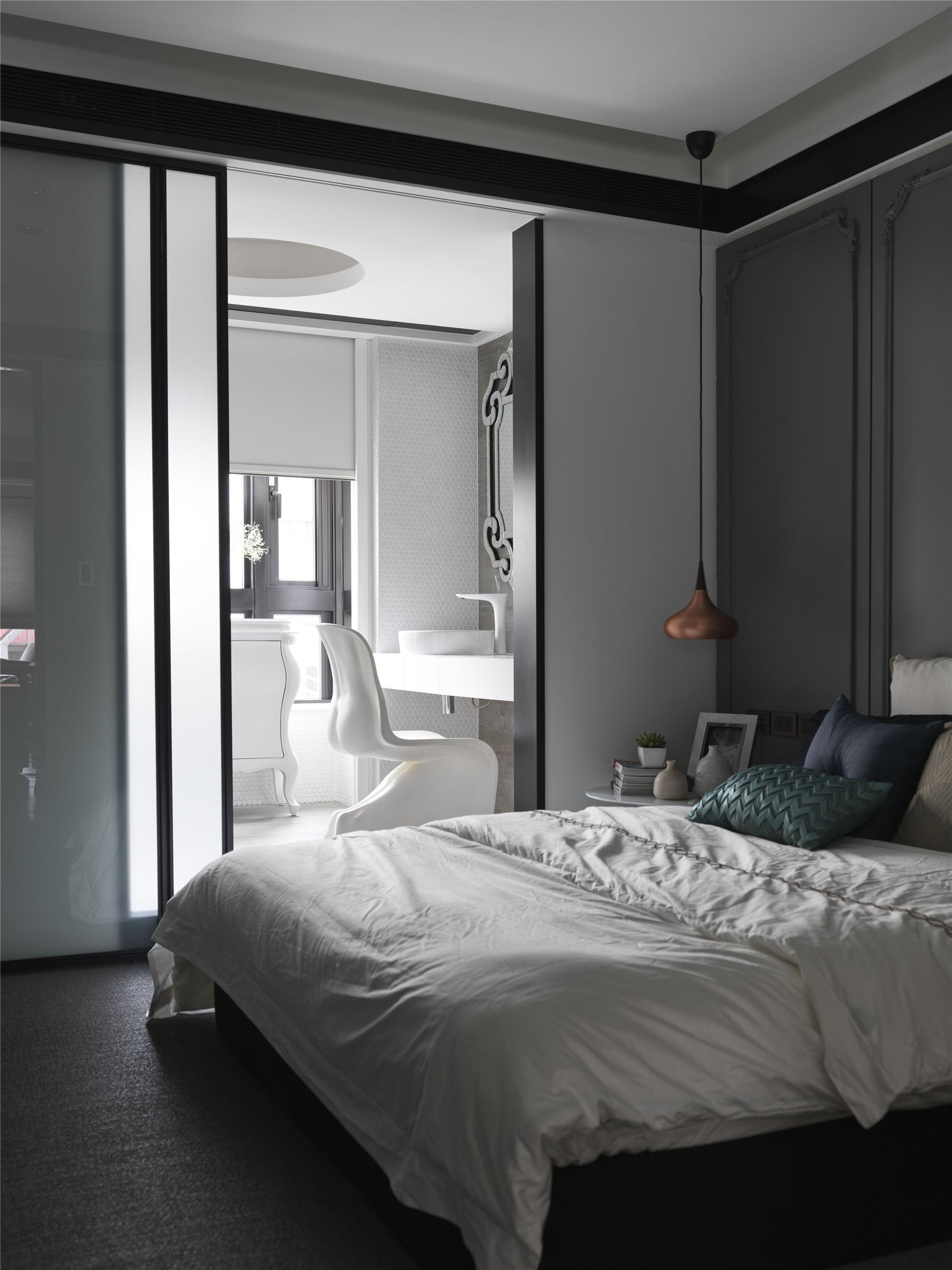 黑白灰现代简约空间装修卧室效果图