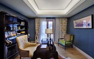 美式新古典别墅装修书房布局图