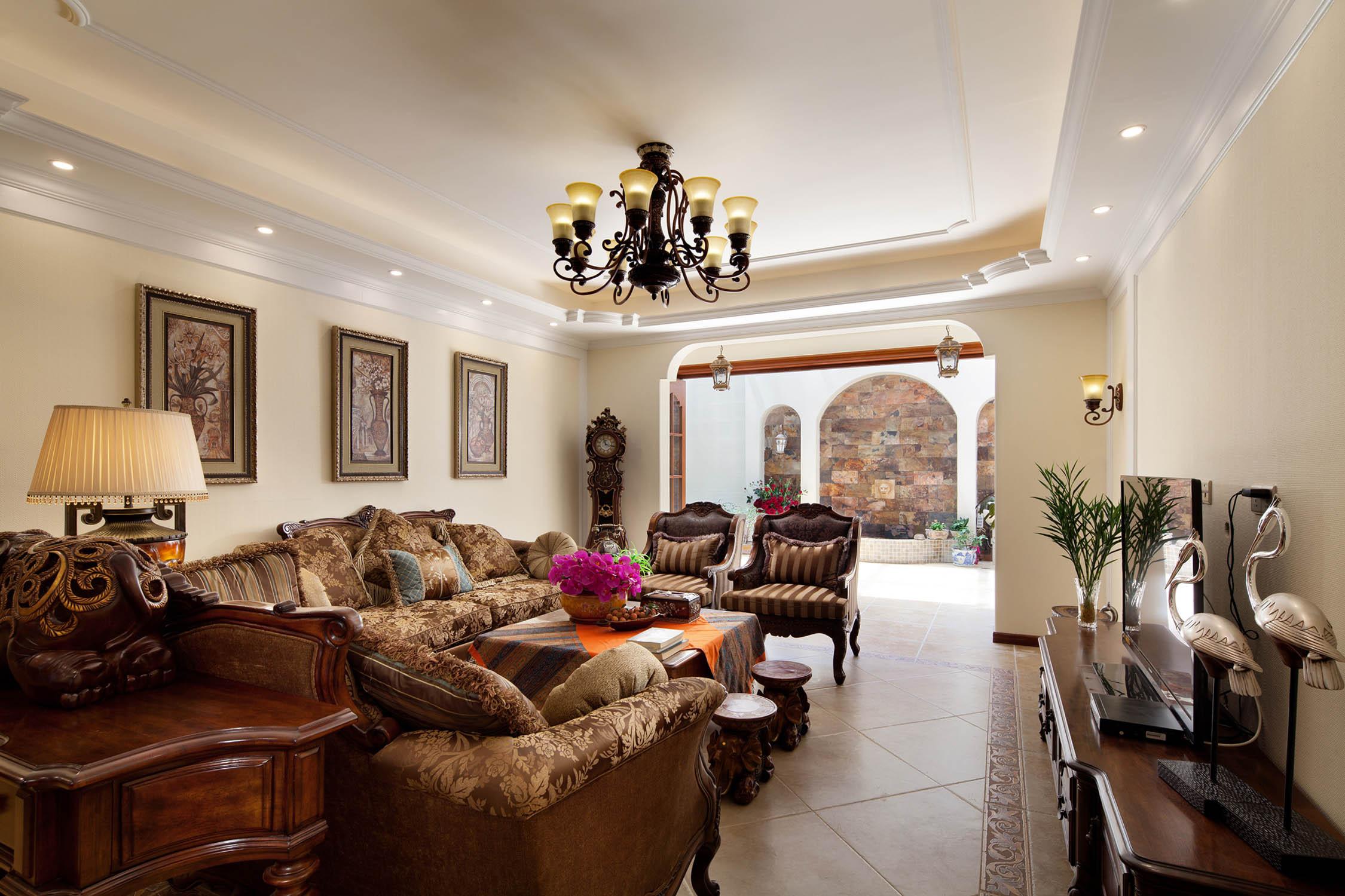 大户型美式家客厅装潢图