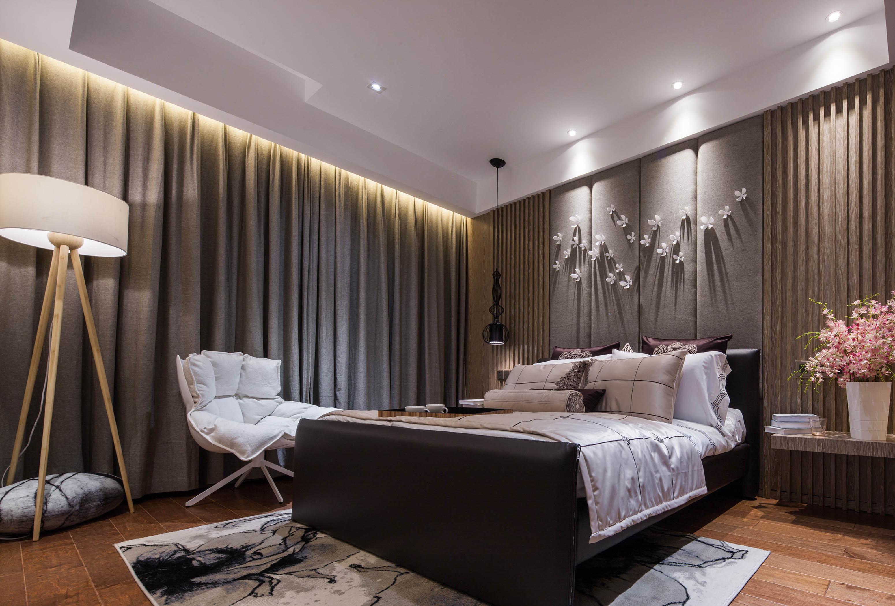 95平现代中式家装修卧室效果图