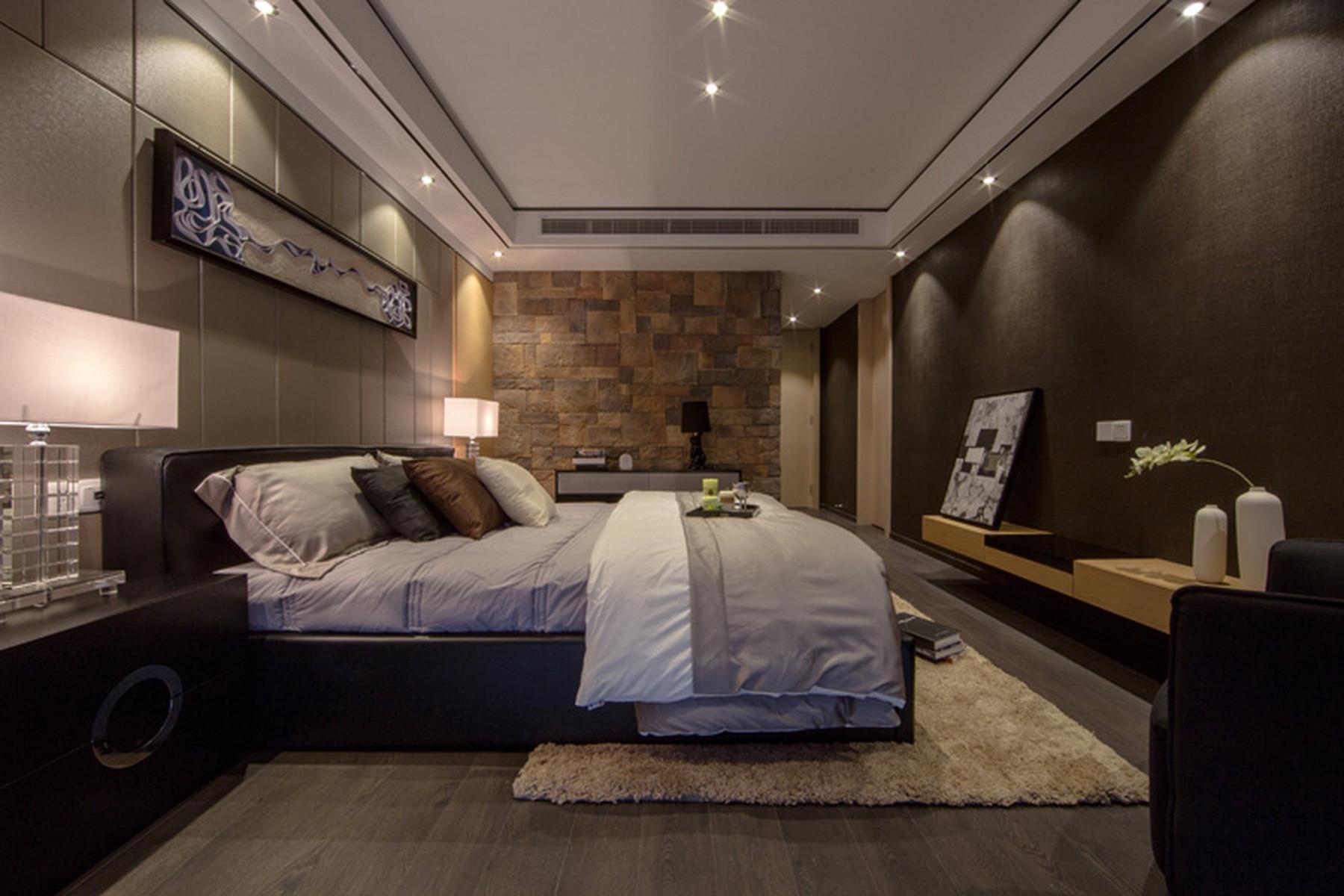 190平现代公寓装修主卧效果图