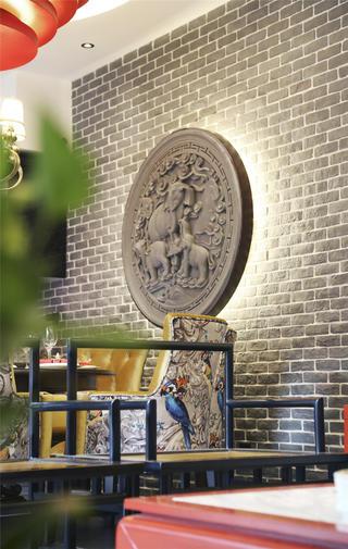 新中式四合院餐厅背景墙设计