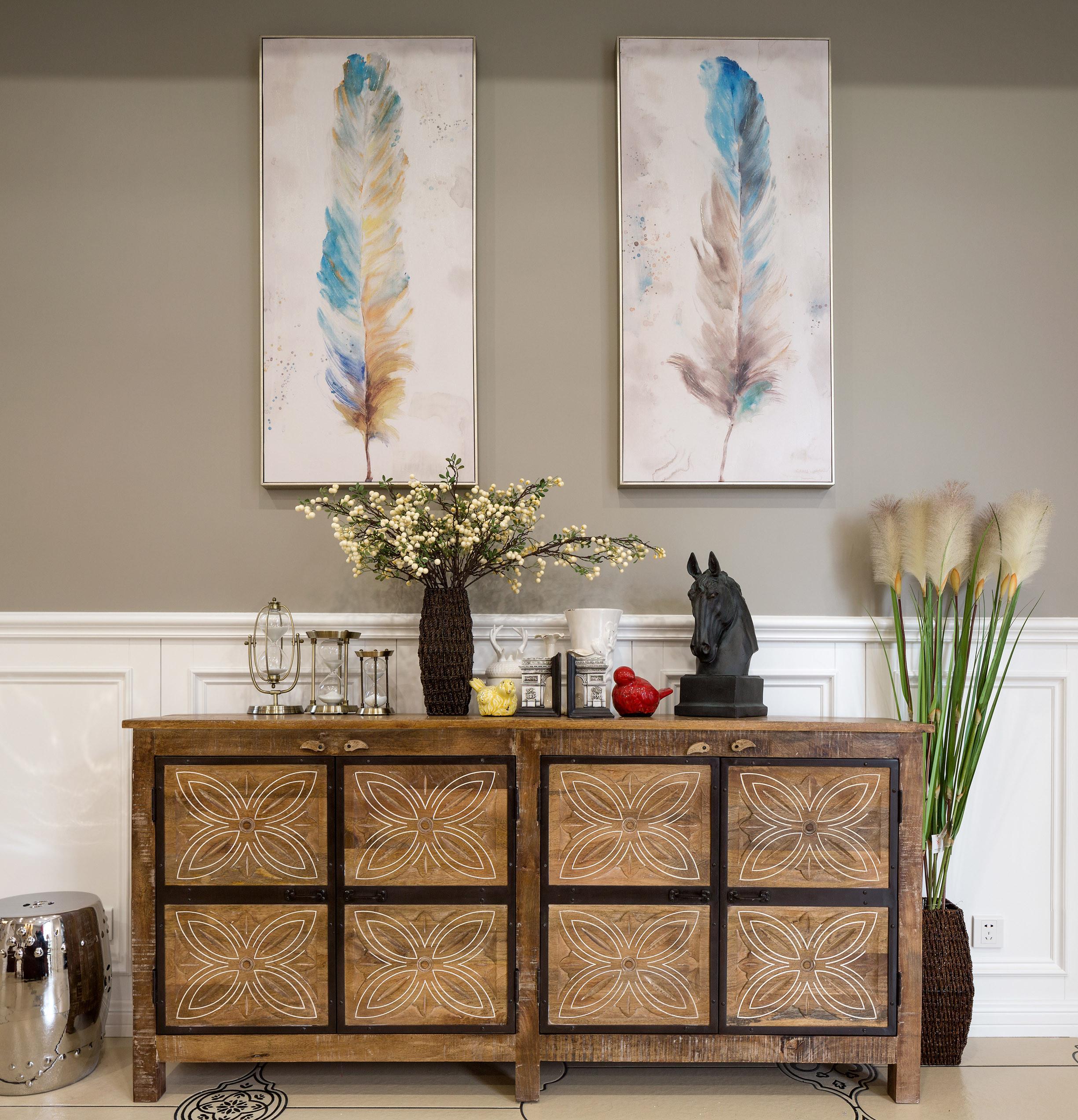 美式别墅设计装饰柜摆件