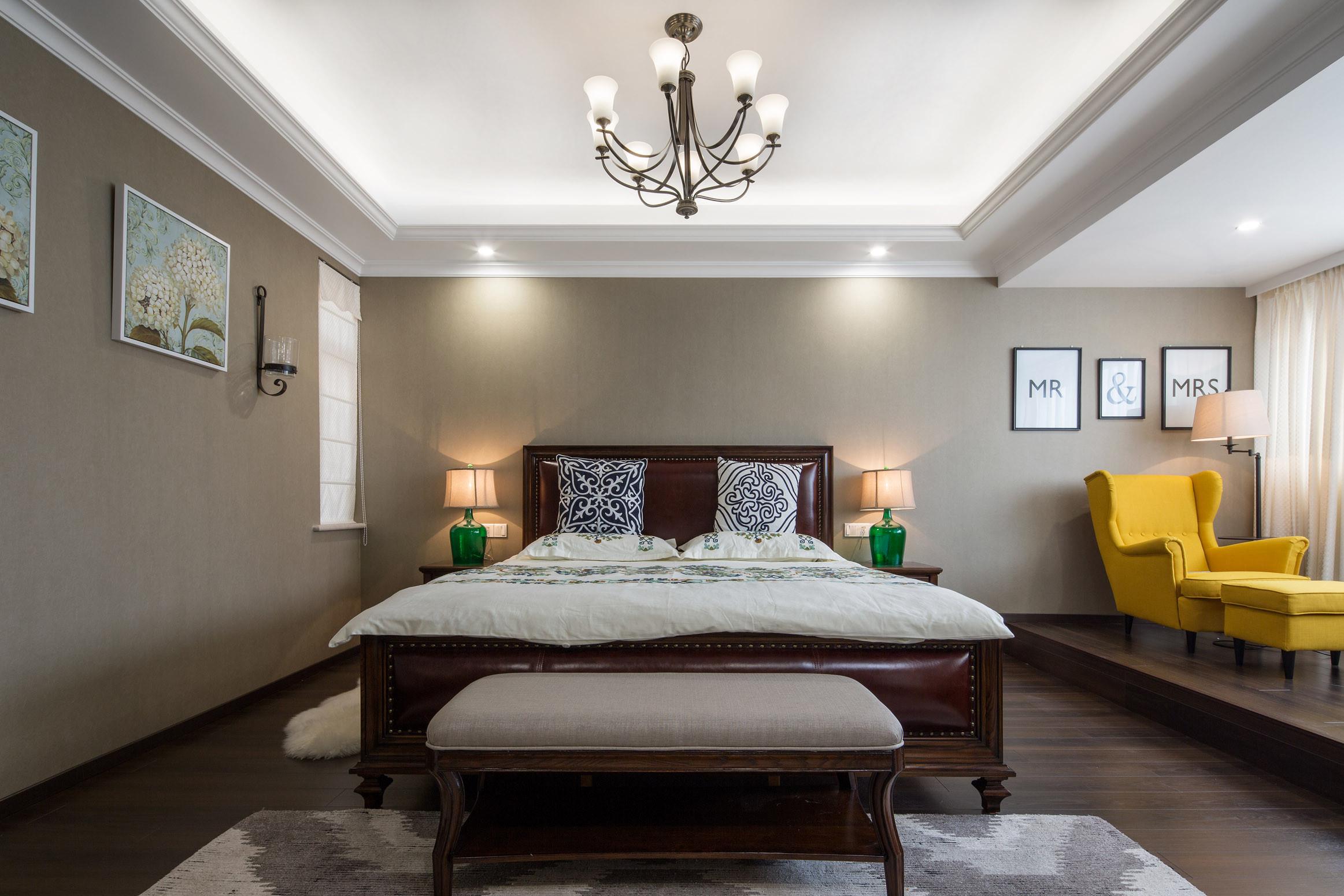 美式别墅设计卧室背景墙图片