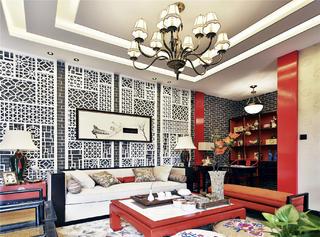新中式四合院沙发背景墙设计