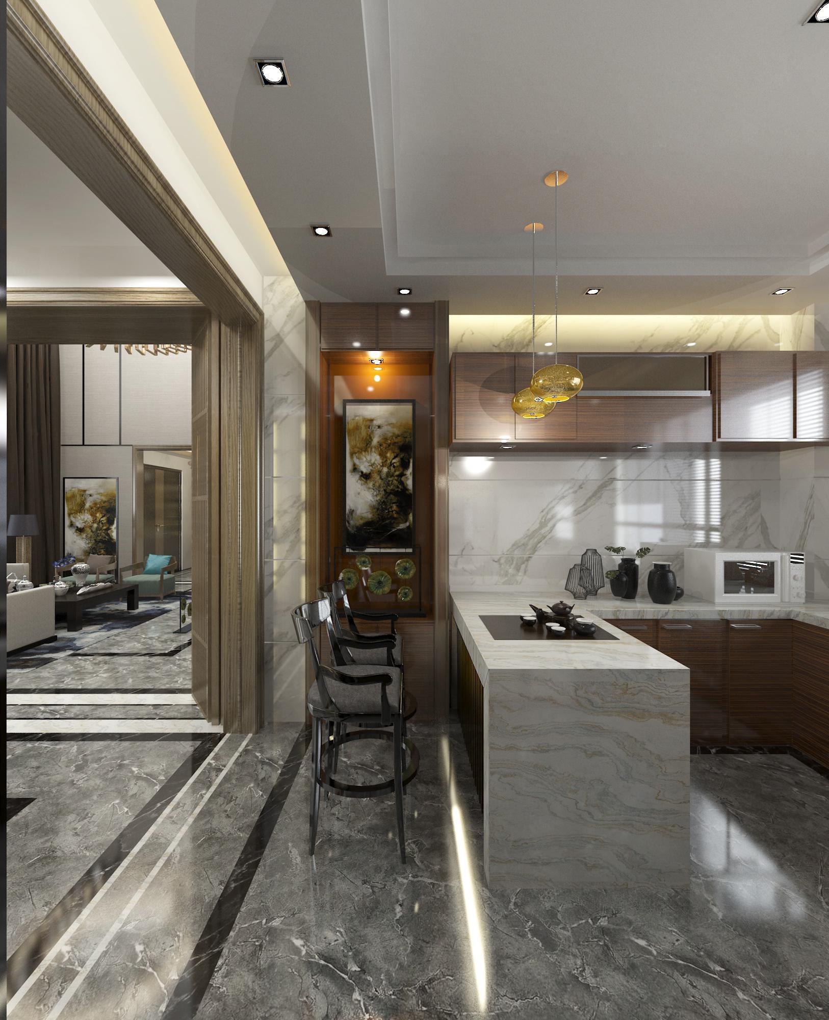 新中式别墅装修厨房设计图