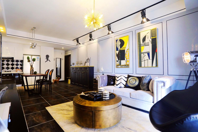 混搭风格二居沙发背景墙图片