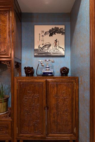 大户型中式风格装修玄关柜图片