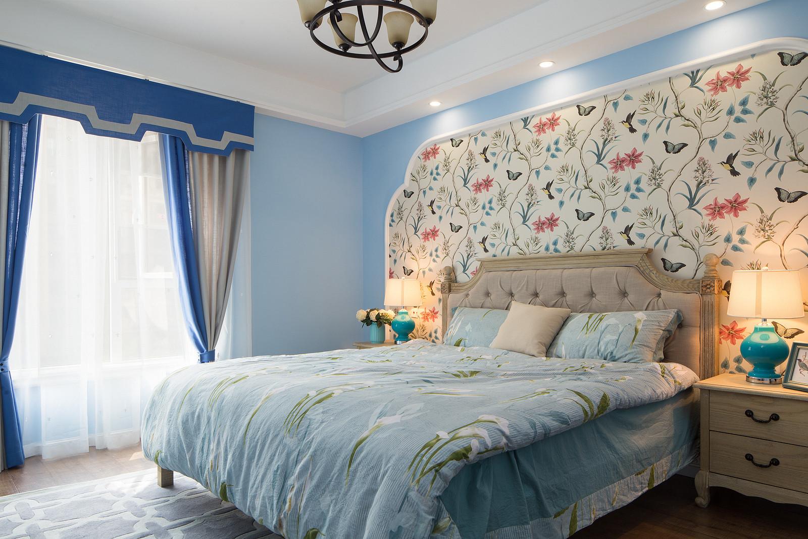 110平美式装修卧室效果图