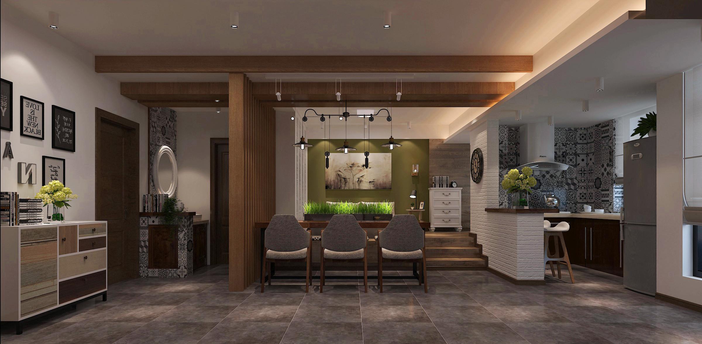 复古小清新公寓装修整体效果图