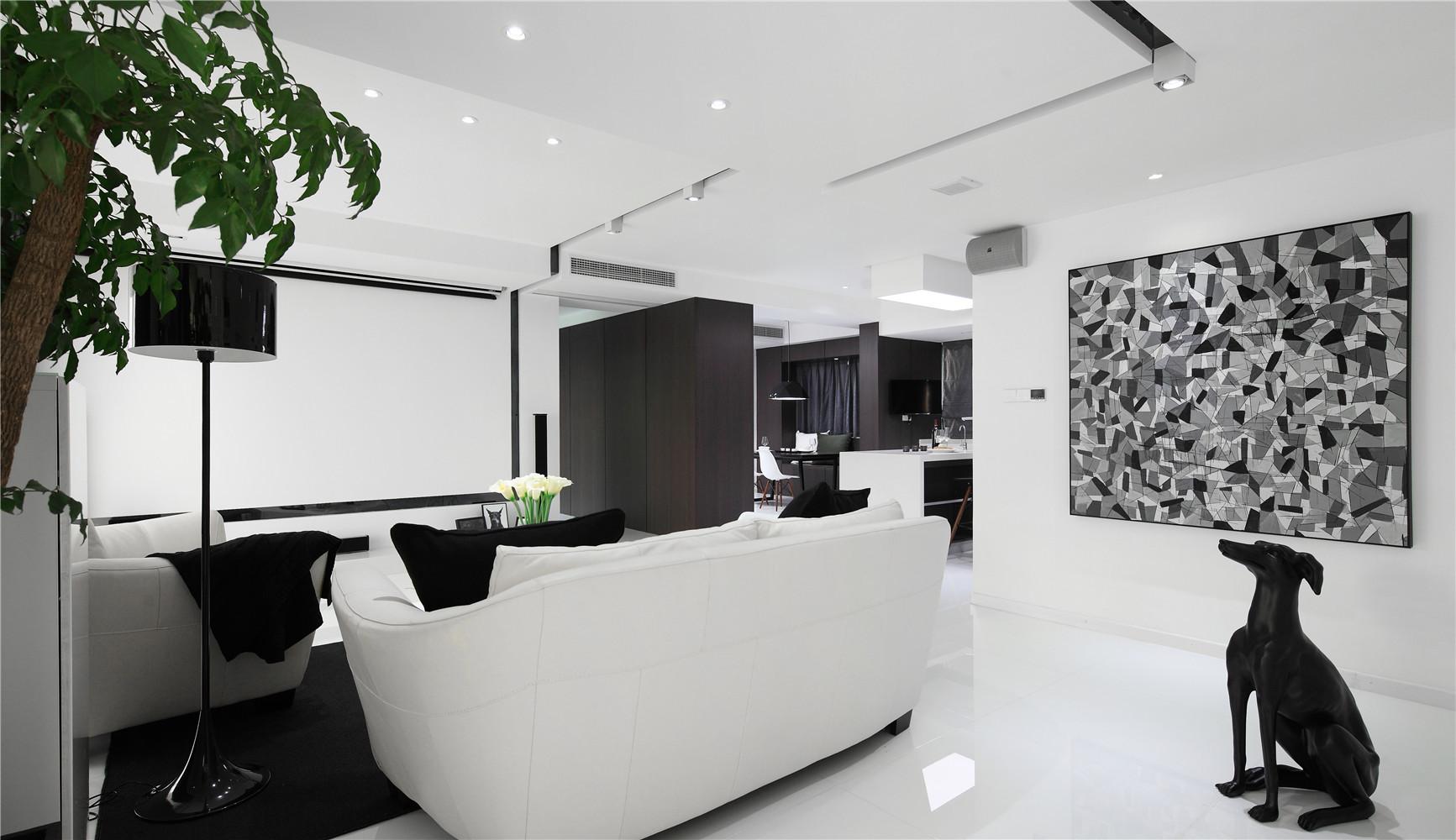 黑白极简装修客厅吊顶设计