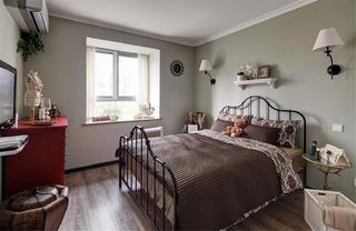 美式风格三居室装修床品图片