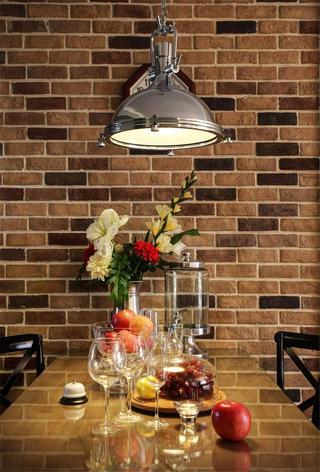 美式风格三居室装修餐厅背景墙图片