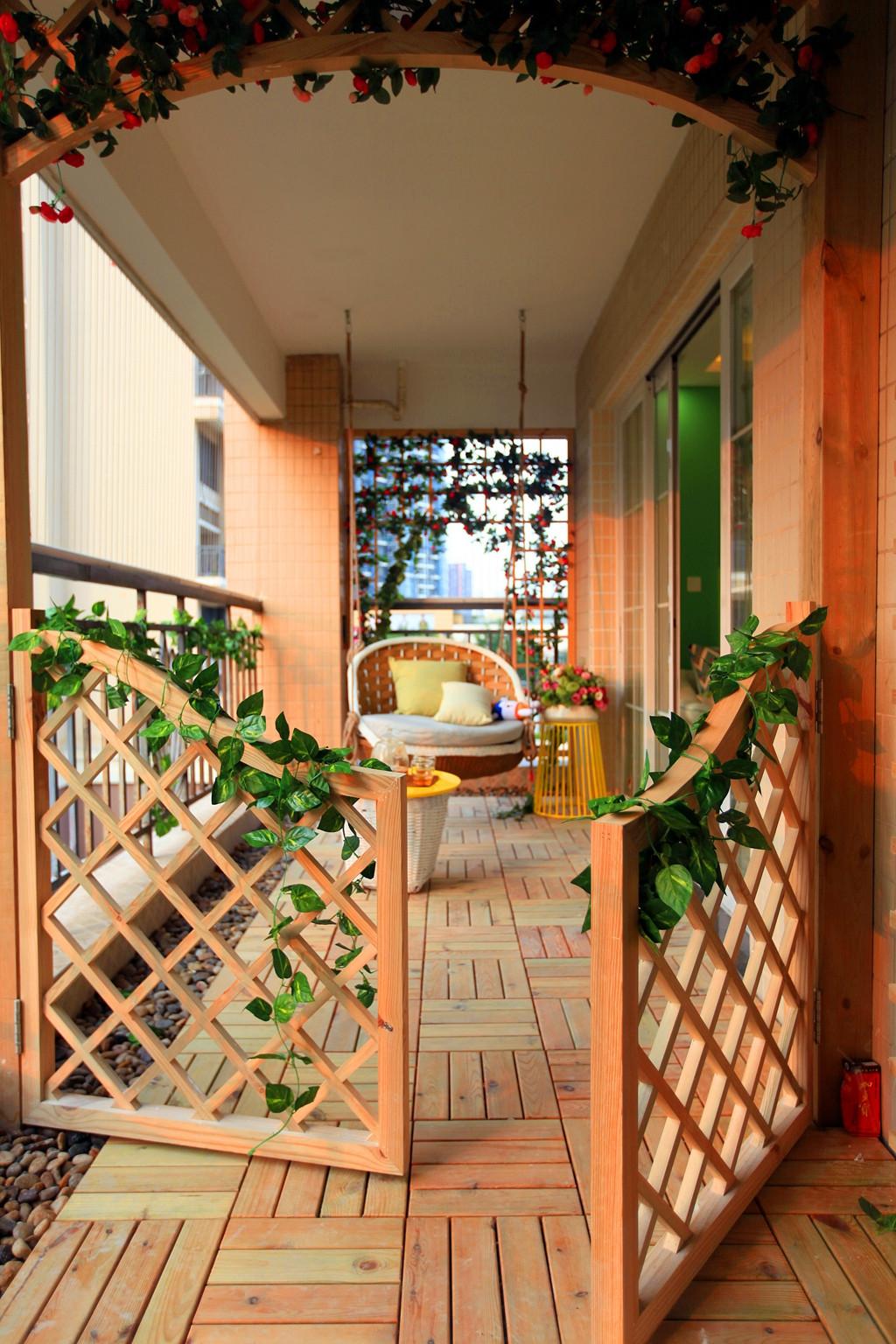 90平简约风格家阳台花园设计