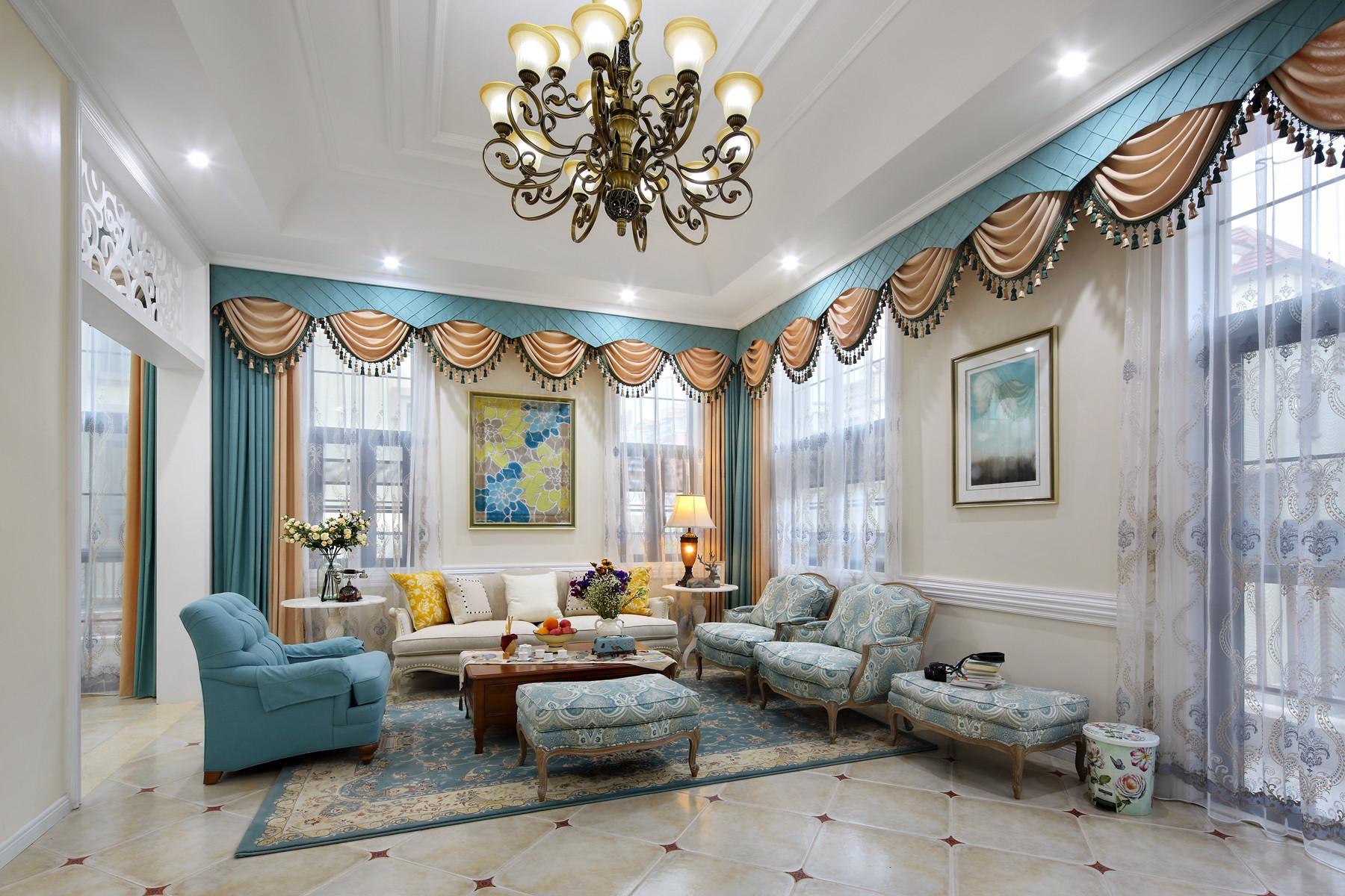 美式别墅装修沙发窗帘图片