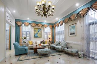美式別墅裝修沙發窗簾圖片
