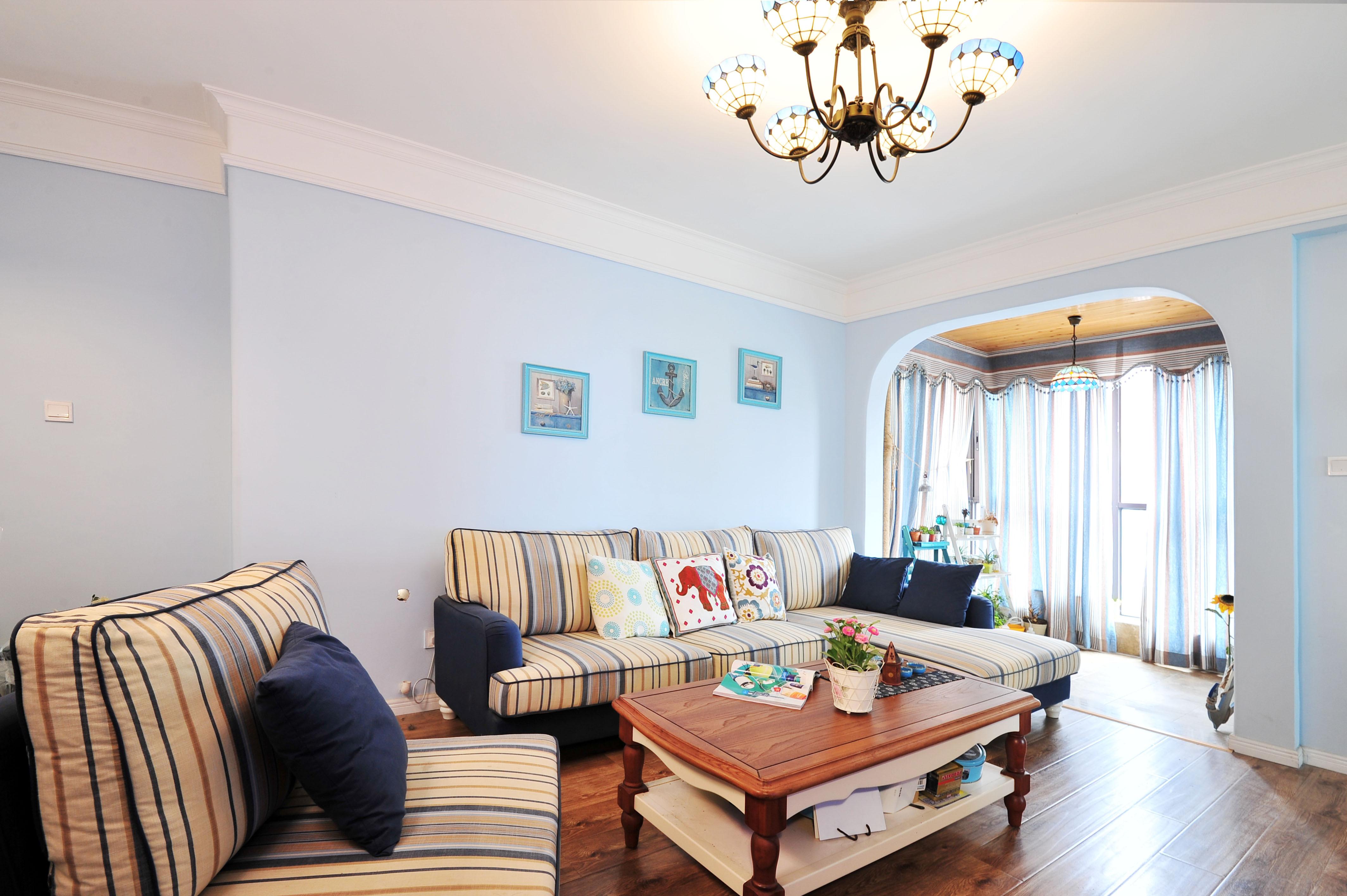地中海风格二居沙发背景墙图片