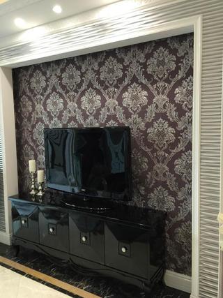 80平新古典样板房装修电视背景墙图片