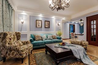 三居室美式之家沙发背景墙图片