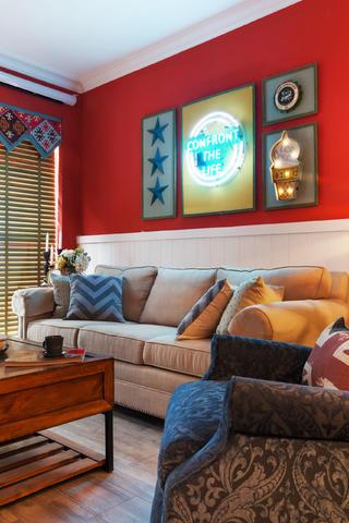 60平美式风格家沙发背景墙图片