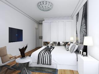 现代简约二居装修卧室搭配图