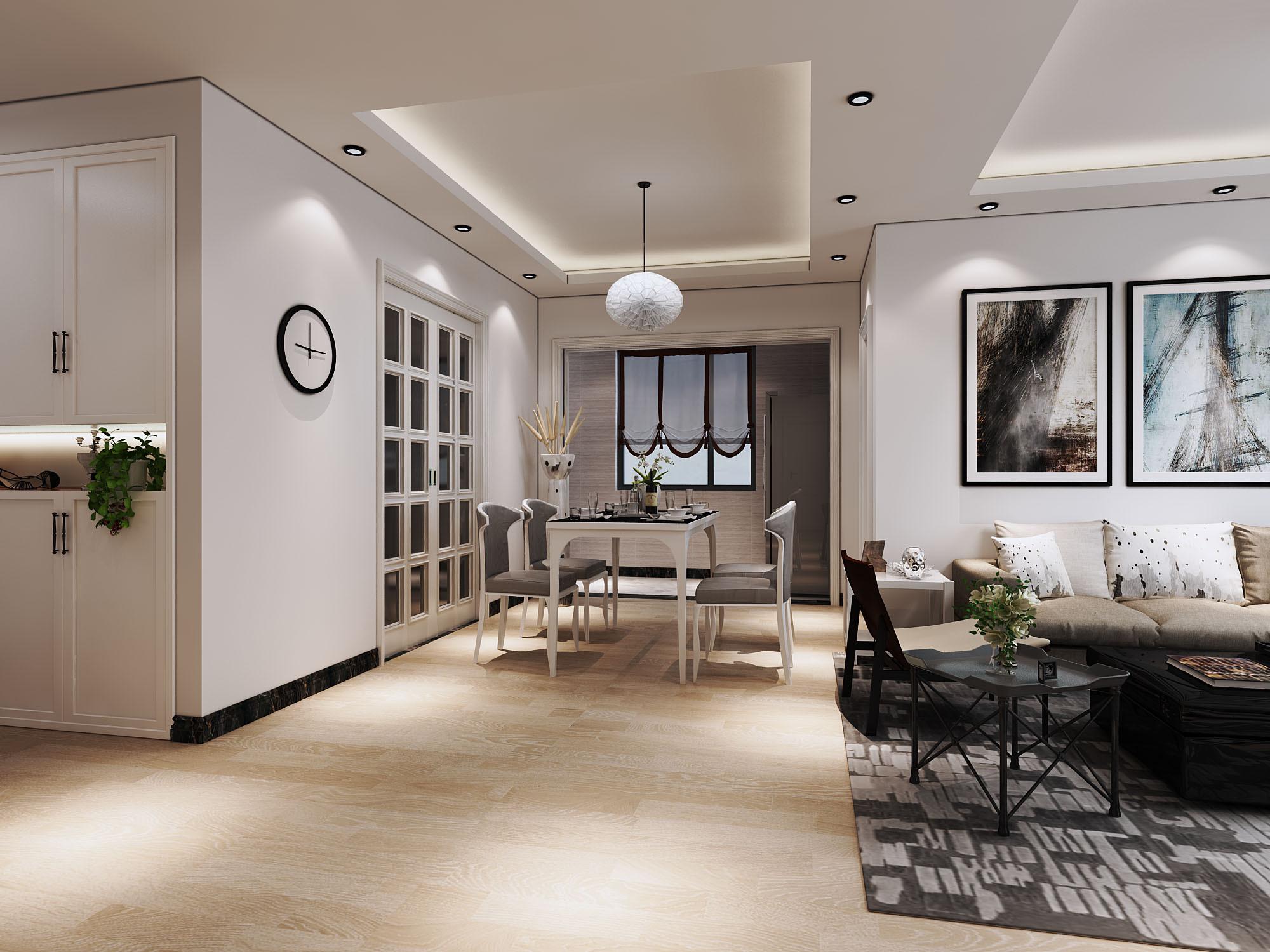 现代简约二居装修餐厅效果图