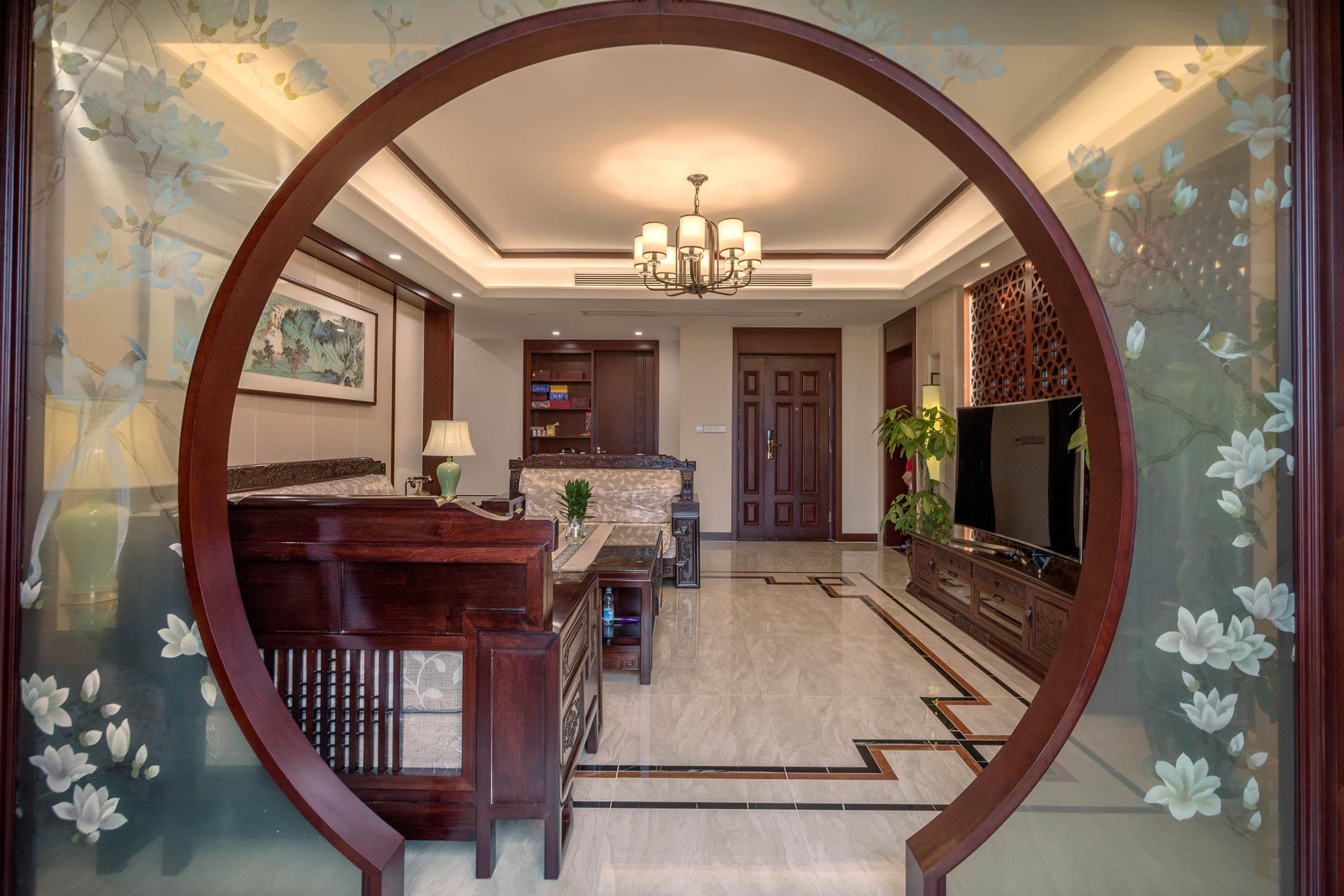 中式风公寓装修园林景门设计
