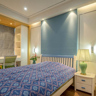 中式风公寓装修卧室背景墙图片