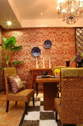 东南亚风格装修餐厅背景墙图片