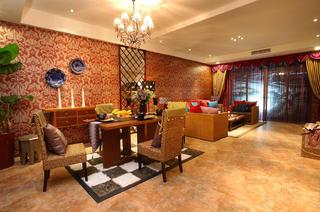 东南亚风格装修客餐厅全景图