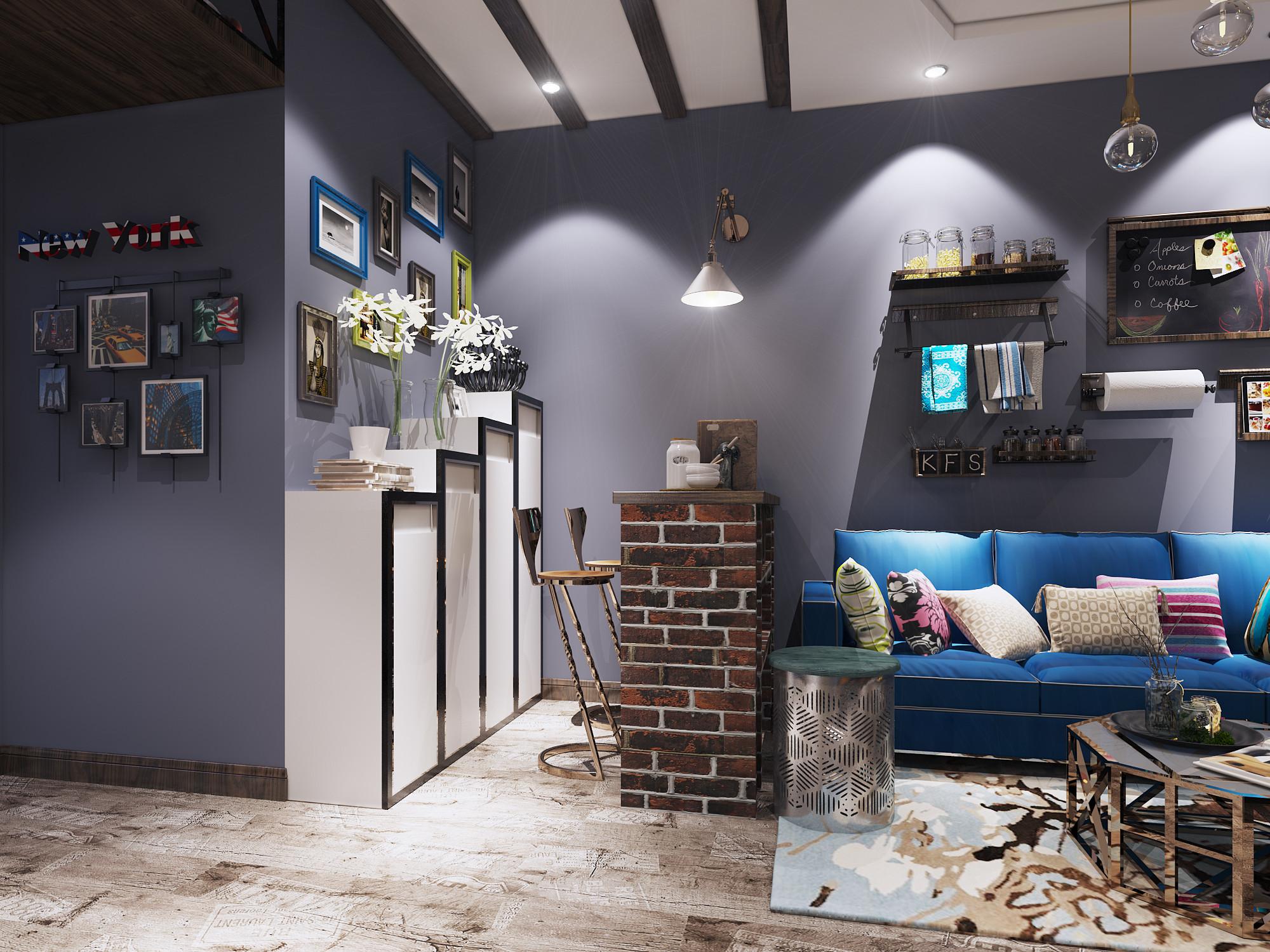 60平Loft风格装修沙发背景墙图片