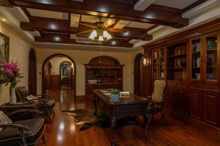 大户型新古典美式混搭装修书房效果图