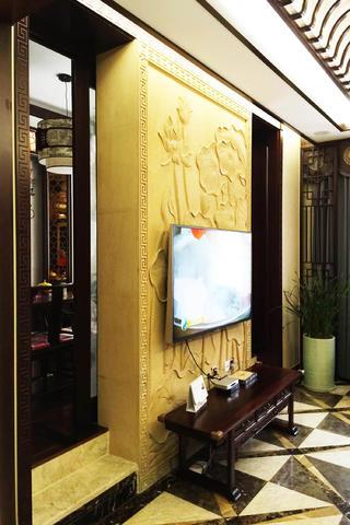 中式别墅装修电视墙图片