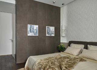 130平三居室装修卧室背景墙图片