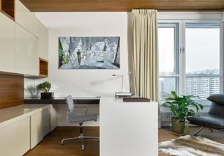 130平三居室装修书房工作区