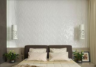 130平三居室装修床头背景墙图片