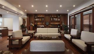 现代中式别墅装修客厅效果图