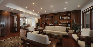 现代中式别墅装修沙发图片