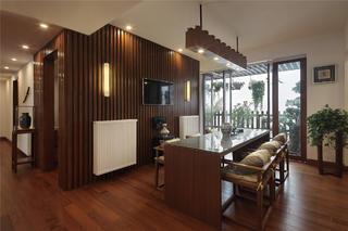现代中式别墅装修餐厅设计图