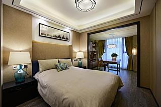 新中式三居装修主卧设计图