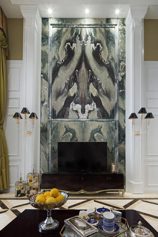新古典复式装修电视背景墙图片