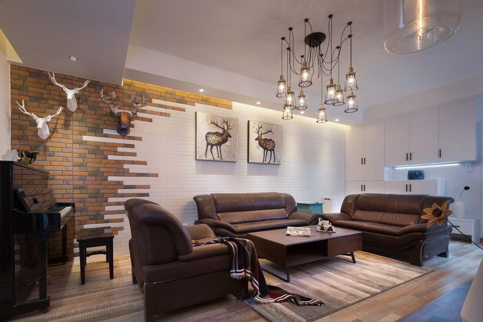 三居室北欧风格装修沙发背景墙图片