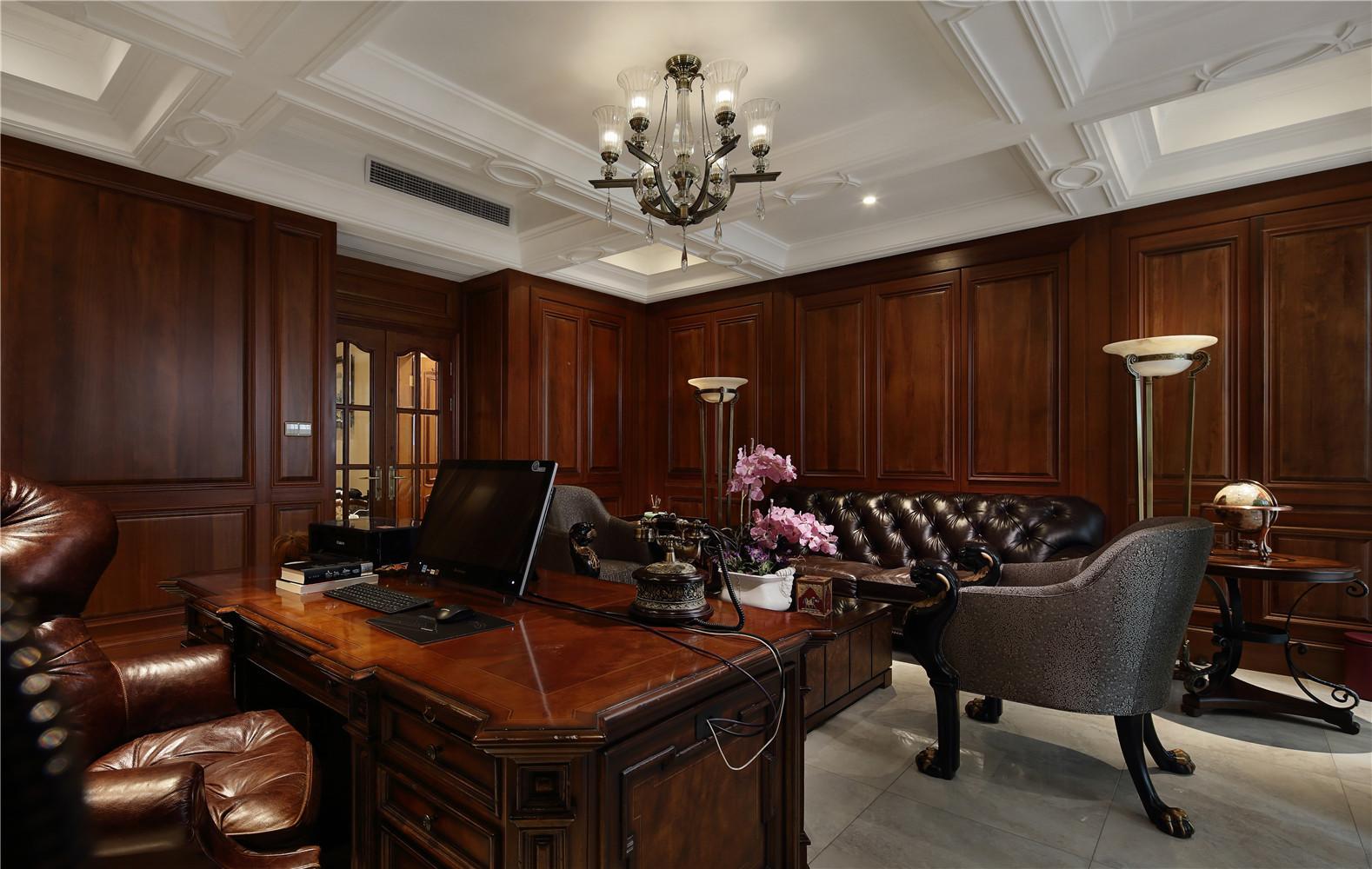新古典别墅装修书桌图片