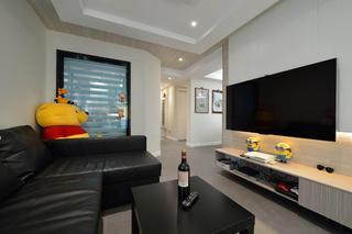 三居室简约风格装修电视背景墙图片