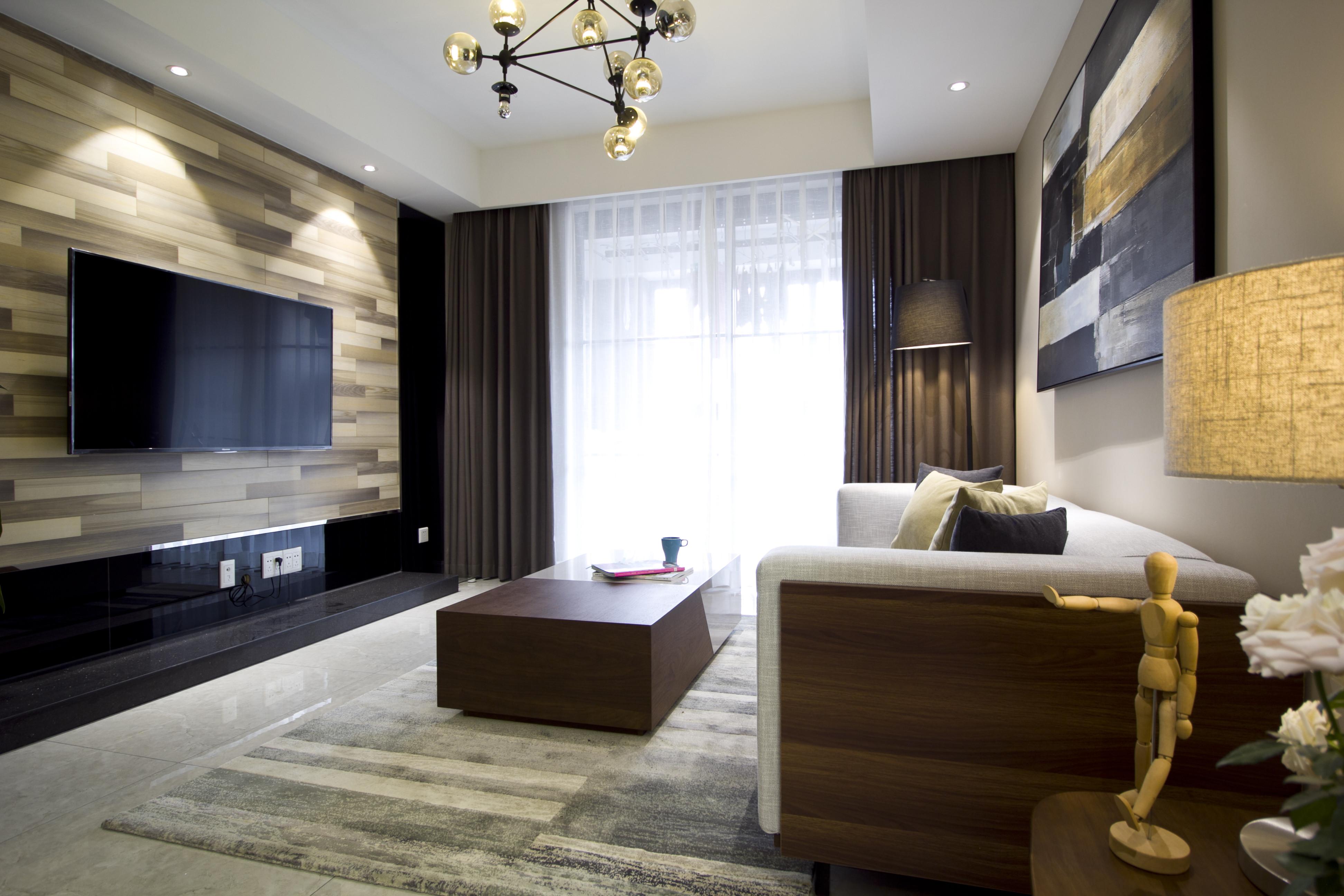 现代简约二居装修客厅设计图