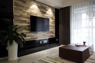 现代简约二居装修电视背景墙图片