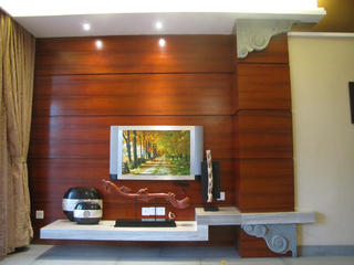 100平中式装修电视背景墙图片